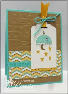 Celebrate Baby, Create with Connie and Mary Color Challenge, Lullaby Designer Paper, Alphabet Press, #stampinup, Stampin' Up!, baby mobile, www.inkspiredtreasures.com, Connie Babbert
