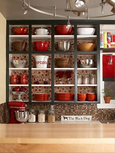 We love this open cabinet look!  #kitchen #storage #decorating