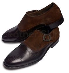 Men Brown Brogue Single Monk Suede and Genuine Leather Shoes - Leather Skin Shop Brown Brogues, Brown Leather Shoes, Leather Skin, Suede Leather, Brown Suede, Dark Brown, Gentleman Shoes, Custom Design Shoes, Long Toes