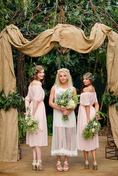 Draped Garden Ceremony Arch | Emily Chappell Photography | Bohemian Garden Wedding Inspired by Fine Art