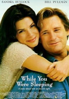 While You Were Sleeping (1995) Sandra Bullock, Bill Pullman, Peter Gallagher.  Sandra Bullock plays a transit worker who pulls a commuter off the tracks after he's mugged. While he's comatose, his family wrongly assumes she's his fiancee and she doesn't correct them ... and then she falls for his brother...17b