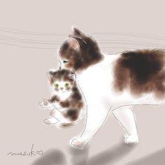 By Masuko Masuda Kado I Love Cats, Crazy Cats, Cute Cats, Oriental Cat, Cat Character, Watercolor Cat, Cat Colors, Domestic Cat, Funny Cat Pictures