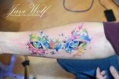 Eyes tattooed by Javi Wolf Can see why you're going for a Javi Wolf setup. Some super bright colours going on! Cat Eye Tattoos, Up Tattoos, Wolf Tattoos, Body Art Tattoos, Sleeve Tattoos, Tatoos, Girly Tattoos, Large Tattoos, Unique Tattoos