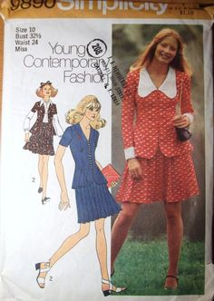 Simplicity 9890 1970s Misses Mod Mini Pleated Skirt and Top vintage sewing pattern by mbchills