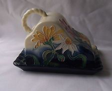 OLD TUPTON WARE  CHEESE-BUTTER DISH IN THE SUMMER MEADOW DESIGN