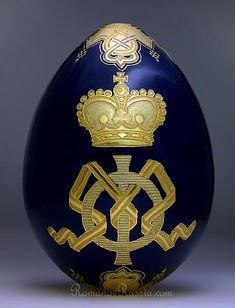 A Russian imperial presentation porcelain Easter egg, with the cipher of the Empress Maria Feodorovna, made by the Imperial Porcelain Factory in 1882 or 1883. (romanovrussia.com)