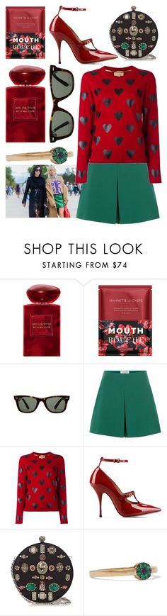 """""""Hearts"""" by cherieaustin ❤ liked on Polyvore featuring Giorgio Armani, Nannette de Gaspé, Ray-Ban, Valentino, Burberry, RED Valentino, Alexander McQueen and IaM by Ileana Makri"""