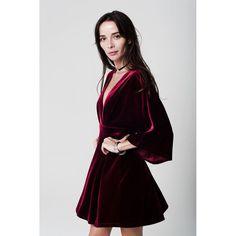 Kimono Sleeve Maroon Velvet Dress