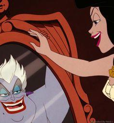 *URSULA + VANESSA (her human alter ego) ~ The Little Mermaid, 1989.....true reflection