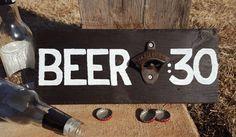 Wooden Bottle Opener Wall Sign, Man cave rustic decor, Custom Craft Beer Accessories, Groomsmen gift, Cast Iron Anniversary Present-6 year