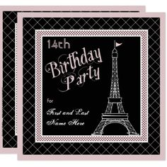 Pink Paris 14th Birthday Party Invitation