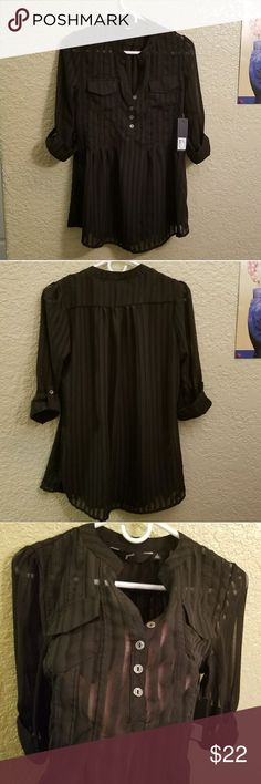 NWT Black sheer blouse with attached tank NWT Sheer black on black striped blouse with attached tank inside. Roll up cuff button up sleeves, v detail on neckline, and a feminine flare at hem. Back is also pleated as shown. Size is a Small. GNU Tops Blouses