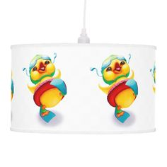 This vibrant and joyful pendant lamp featuring Edgar the Duck would look wonderful in a child's nursery or playroom.