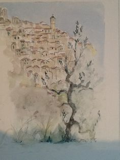 Karen Hedegaard Mortensen - watercolour from Italy - Galleri Svinestien - Denmark