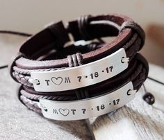 Matching Couples Bracelets, engraved mens bracelets, couples anniversary gift, couples bracelet set, couples bracelet leather with silver