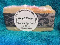 Texas T&T Home Made Lye Soap Angel Wings Lye Soap 3-3.5 oz Shea Butter  #TEXASTANDTHANDMADESOAPS