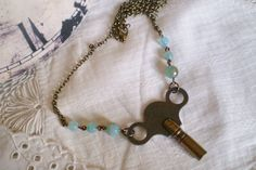 Steampunk Vintage Key Necklace with Turquoise Agate Stones in Brass - repurposed,skeleton key,clock winding key, Boho Chic,unique, feminine by etceterahandcrafted on Etsy