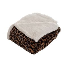 Leopard fleece throw