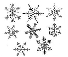 Snowflake ideas to embroider on little felt ornaments
