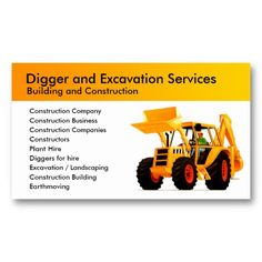 Yellow Digger Business Card Templates from TruckStore  #truckstore #diggers #businesscards