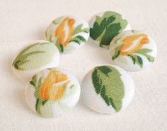 Fabric Buttons  Yellow Rosebuds  6 Small Flowers by PatchworkMill, $3.50