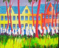 Béguinage de Bruges : peinture acrylique sur toile.