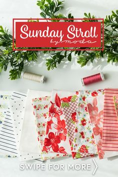 Sunday Stroll by Moda Fabrics from Bonnie & Camille is a gorgeous fabric collection available at Shabby Fabrics! Shop available yardage, precuts, and FQ Sets now for the best selection! Shabby Fabrics, Gorgeous Fabrics, Sunday, Shop, Collection, Domingo, Store