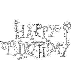 Happy Birthday, Black and White Graphic Word Art Print