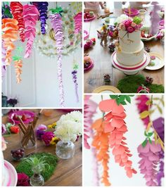 Abigail G's Birthday / Fairy Theme Party - Whimsical Fairy Party at Catch My Party Paper Flower Garlands, Tissue Paper Flowers, Giant Paper Flowers, Fabric Flowers, Shabby Flowers, Burlap Flowers, Diy Flowers, Diy Wedding Planner, Seed Bead Flowers