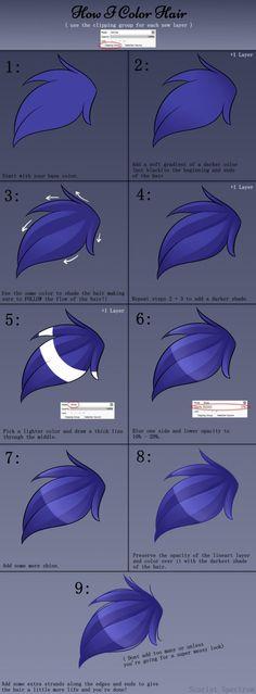 Hair Coloring Tutorial by Scarlet-Spectrum.deviantart.com on @DeviantArt