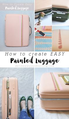 How to create Easy Painted Luggage. A perfect idea for pretty storage and organization, too! Love this idea. #12MonthsofMartha