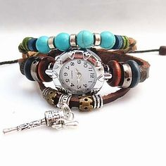 Women's Vintage Bead Pendant Style Leather Handmade Weave Band Quartz Analog Bracelet Watch, Free Shipping On All Gadgets!