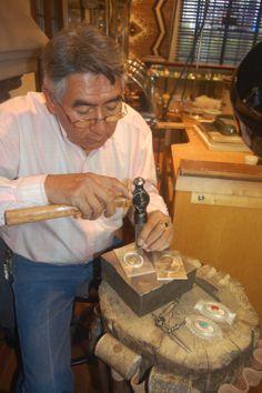 Navajo Silversmith making silver jewelry