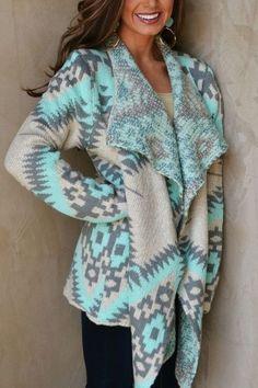 Tribal Draped Cardigan - Mint and Gray tribal draped cardigan fall outfit ideas - VIVA LA JEWELS