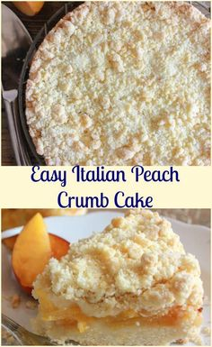 Easy Italian Fresh Peach Crumb Cake, a delicious peach dessert recipe,snack, dessert or even breakfast. Alone or with ice cream.Perfect! via @https://it.pinterest.com/Italianinkitchn/ Peach Cake Recipes, Top Recipes, Bathrooms, Diy Food, Cheryl, Just Desserts, Caramel, Ice Cream, Fresh