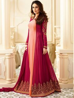 Shop Kareena Kapoor peach georgette straight cut salwar kameez online at kollybollyethnics from India with free worldwide shipping.