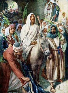 Triumphal Entry by Harold Copping ~ Jesus Palm Sunday. Thank you sweet Becky. Religious Pictures, Bible Pictures, Jesus Pictures, Catholic Art, Religious Art, Moslem, Religion Catolica, Biblical Art, Palm Sunday