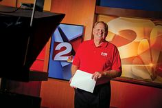 """Big Al"" on the set of KJRH Channel 2. The sports director has worked at the station since 1986"