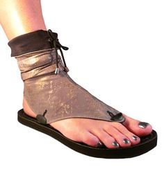 Another great find on #zulily! Metallic Gray & Black Nova Flat Reversible Sandal #zulilyfinds