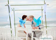 #pinwheel wedding #beach ceremony #bride and groom