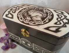 Wooden Celtic Wolf Box / Wedding Handfasting Card Box / Pagan Wicca Tarot Box / Magic Wolf Totem Herb Crystal Storage Chest / Jewelry Box by DragonStarCreations1 on Etsy