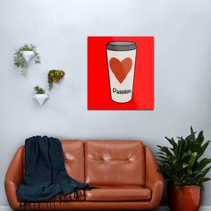 """""""Love Coffee With A Passion -White Travel Mug Coffee Design"""" Metal Print by Pultzar   Redbubble"""