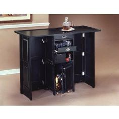 Home Styles 5695 99 Folding Bar With Chrome Rails Black By