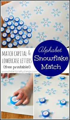 Snowflake Alphabet: Match Capital and Lowercase Letters (Free Printable) | I Heart Crafty Things