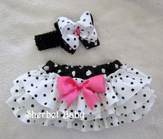 Items similar to Sassy Pants Ruffle Diaper Cover Panty Head Band and Grograin Double Stacked Hairbow Black & White Polka Dots on Etsy Baby Bloomers, Baby Girl Romper, Little Girl Dresses, Girls Dresses, Baby Skirt, Baby Dress, Ruffle Diaper Covers, Sassy Pants, Baby Couture