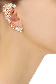 Gold plated embellished crystal earcuff with crystal stud earring set available only at Pernia's Pop-Up Shop.