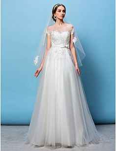 $179.99 -  A-line Princess Wedding Dress See-Through Sweep / Brush Train Bateau Tulle with Appliques Beading Bow Sash / Ribbon,Shop for cheap Wedding Dresses online? Buy at Chinathebox.com on sale today!