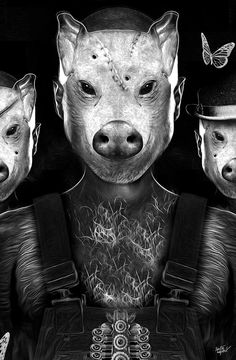 Today we want to show you the work of an excellent French illustrator, Nicolas Overy, also known as Custom Shoot, who has worked for major clients such as Adidas. Three Little Pigs, This Little Piggy, Illustration Arte, Illustrations, Animal Farm Orwell, Creepy Animals, Pig Mask, Pig Drawing, Creeped Out