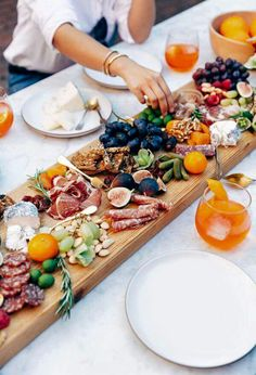 Cheese, fruit and meat table