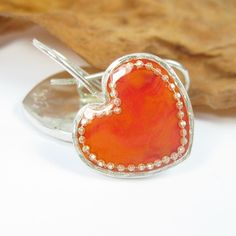 Silver Hearts Earrings  Red Orange Coral color by SigalitAlcalai, $43.00